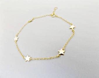 Star bracelet, gold star bracelet, charm bracelet, tiny star bracelet, star jewelry, bracelet, friendship bracelet, delicate bracelet