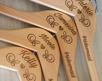 Personalized Hangers for Bridesmaids Bridal Party Hangers for Wedding Day Accessories for Bridal Party Wooden Dress Hanger