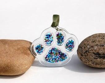 Fused Glass Paw Print Ornament, Fused Glass Paw Print Suncatcher