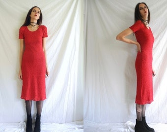 90's rocker/grunge red stretch lace lined maxi dress.