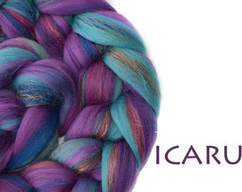 ICARUS- blended top-merino-mulberry silk-sparkle-blue-purple-100g/3.5oz