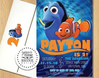 Nemo & Dory Invitations with Custom Printed Envelopes