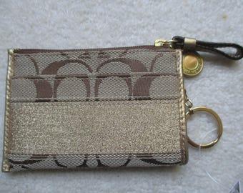 Coach Coin Purse or Card Case with Key Chain Zipper closure.