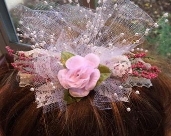 Bridal Comb Made With Pink Roses ,Lace And Pearl Beads