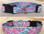 "Handmade Lilly Inspired Lobster 5/8"" Adjustable Dog Collar - X-SMALL"