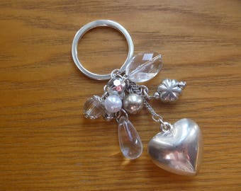 silver tone and white heart keyring, ecofriendly keychain