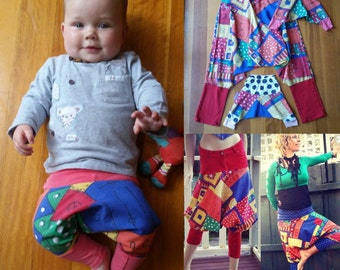 Upcycled mom/bub harem pants set/ pantaloons/knickerbockers/ festival babies. Size 8 ladies and 2x000 bubs (choice of 2 colours).