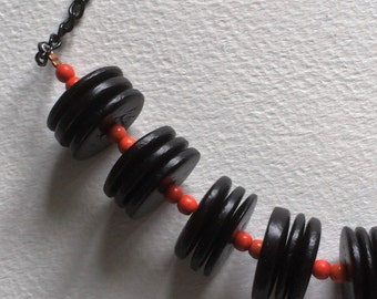 Black and Orange wooden necklace