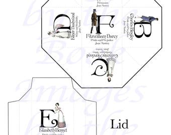 Jane Austen's Alphabet with Regency Fashions Printables, PARTY FAVOR BOX and Lid Template,  2 Inch Cube (50mm)