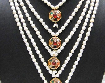 Vintage antique 20 carat Gold navratan pendant Necklace from Rajasthan India