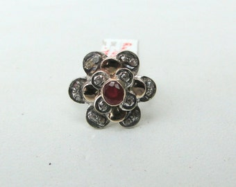 Victorian Diamond 14 K Gold,Sterling Silver Ruby & Diamond Ring.