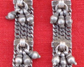 Antique Belly Dance Ethnic Tribal Old Silver Earing Pair Rajasthan India