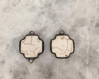 "Cream Stone Chunky Pendant or Connector, 1+1/4"" Soldered Bezel, Chunky, Howlite Stone, Handmade"