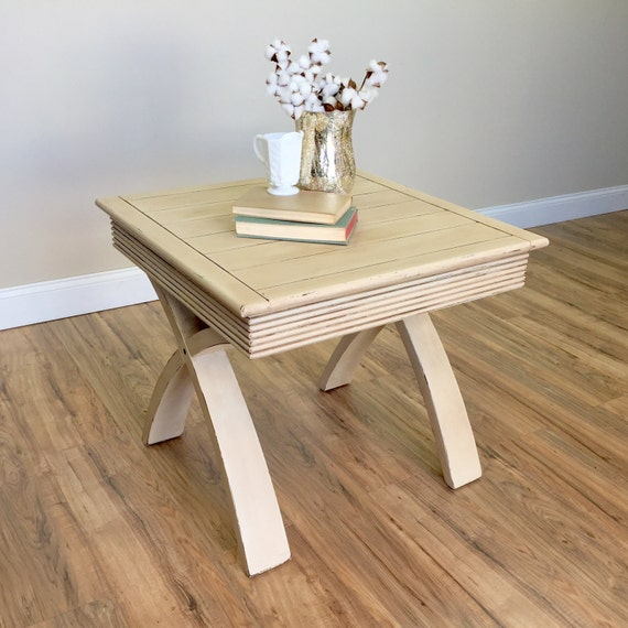 White Side Table - Sofa End Table - Square End Table - Rustic Wood Furniture - Living Room End Table - Distressed End Table