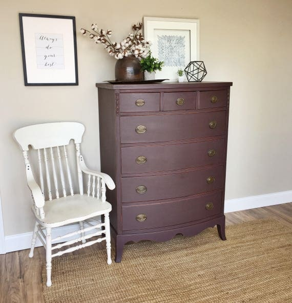 Purple Dresser - Hepplewhite Tall Chest of Drawers - Highboy Dresser - Painted Furniture - Vintage Dresser - Federal Style Furniture