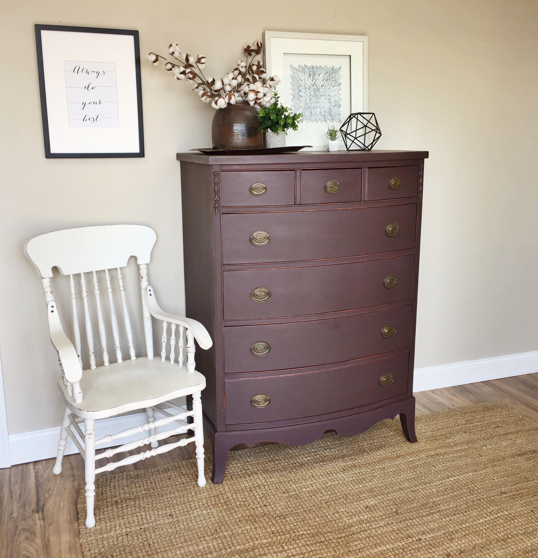 Purple Dresser Hepplewhite Tall Chest of Drawers Highboy
