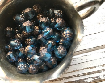 Czech Glass Beads - Aqua and Bronze - Cathedral Beads - 60 BEADS - 8 mm - Czech Glass Cathedral Beads (B12)