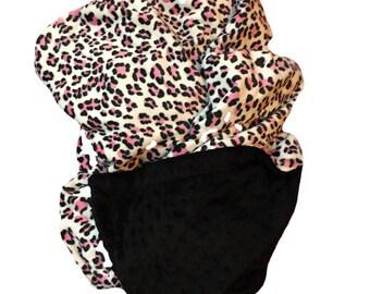 Adult Minky Blanket,Pink Leopard Blanket, Animal Print blanket,Safari Blanket,  Throw Blanket, Dorm Room Blanket, Adult Throw 50 x 60 in