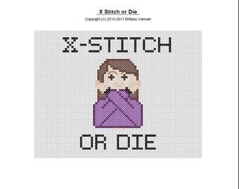 Cross Stitch or Die, Cross Stitch Pattern, Emoji Cross Stitch Pattern,Cross Stitched Emoji,Modern Cross Stitch Pattern, Instant PDF Download