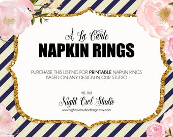 Napkin Rings-À La Carte Printable Napkin Rings-Made To Match-Party Décor-Printable