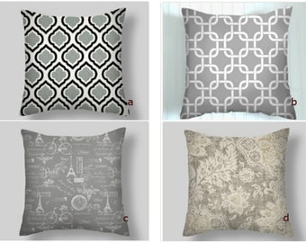 Grey Pillows, Grey Throw Pillows,  Grey Pillow Covers, Decorative Pillows, Accent Pillows,    18 x 18   Adventure Awaits,