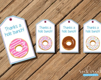 "Donut & Pajama Party Thank You Hang Tags, party favor, girls pink and blue style, 4 designs. 2 x 3-1/2"" each. INSTANT DOWNLOAD"