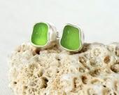 Lime Green Sea Glass Stud Earrings - Genuine Sea Glass - Natural Sea Glass - Sterling Silver
