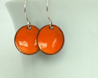 Tangerine Orange Enamel Earrings - Enamel Jewelry
