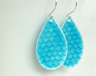 Aqua Blue Enamel on Fine Silver Mermaid Teardrop Earrings - Enamel Jewelry, Handstamped Jewelry, Mermaid Jewelry, Mermaid Tail, Scales