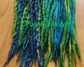Wool Dreadlocks Mermaid Wrapped green Custom wool dreads- Roving art rave Double Ended Kit