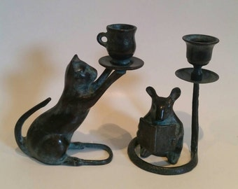 Vintage Pair of Cat and Mouse Candleholders/Mixed metals/Bronze