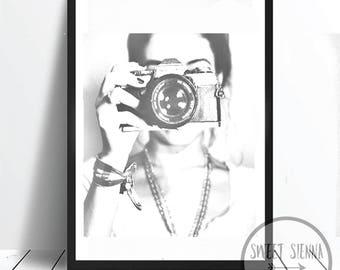 Fashion Print, Fashion Girl Print, Selfie Print, Girl wall art, scandi & nordic decor, wall art, monochrome print, wall decor- 8x10'