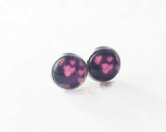 Stainless steel, heart, black pink sparkles, glitter, 10 mm Stud Earrings, made in quebec, Valentine's day, elegant chic