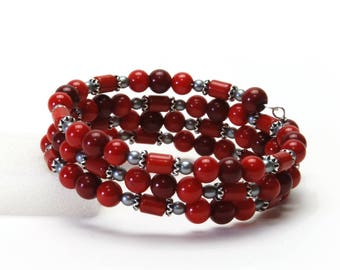 Red Coral Gemstone Memory Wire Bracelet