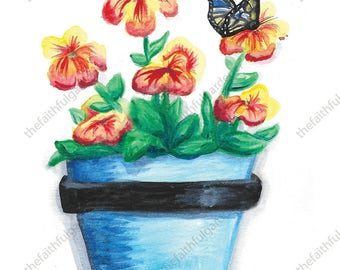Blue Pot with Butterfly Watercolor Art Print