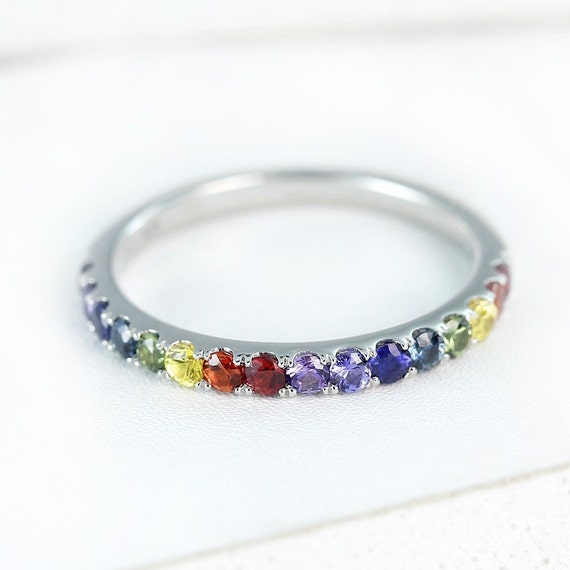 lgbt pride ring engagement wedding band sterling silver