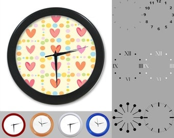 Rainbow Heart Wall Clock, Cutesy Design, Graphic Dotted Lined, Customizable Clock, Round Wall Clock, Your Choice Clock Face or Clock Dial