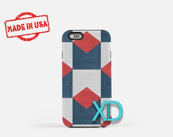 Geometric Fabric iPhone Case, Navy Blue iPhone Case, Blue iPhone 8 Case, iPhone 6s Case, iPhone 7 Case, Phone Case, iPhone X Case, SE Case