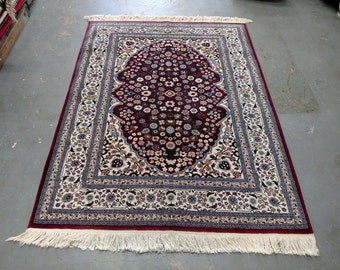 1990s Vintage, Hand-Knotted, Tabriz-Style Moroccan Rug (3550)