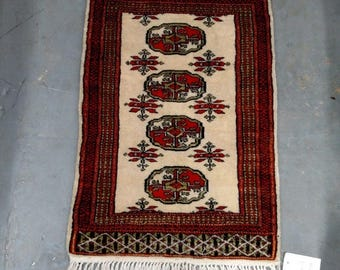 CLEARANCE 1970s Vintage, Hand-Knotted, Retro Bokara Rug (2798)