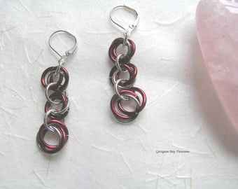 Red cranberry chainmaille earrings silver spring summer fashion jewellery handmade gift under 20 gift for her GBT267