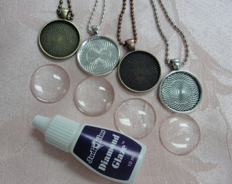 20 Round Pendant tray Kits , matching glass and ball chains including bottle of Diamond glaze.