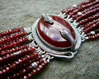 Garnet Bracelet,Mozambique Garnet Snake Bracelet,Garnet Multistrand Bracelet,Snake Jewelry,Snake Bracelet,Repurposed Brooch Bracelet Cuff