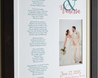 1 Year anniversary gift for her personalized anniversary gift for wife unique anniversary gift, poem or wedding vows, 1st year of marriage