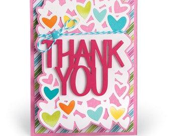 Sizzix - Framelits Die Set 4 Pack - Card - Thank You Drop-ins by Stephanie Barnard