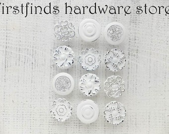 12 Knobs Shabby Chic Drawer Pulls Misfit White Kitchen Cabinet Painted Hardware Dresser Cupboard Cottage Door Large ITEM DETAILS BELOW