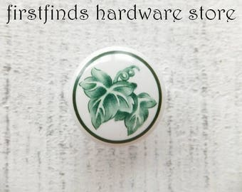 1 Ivy Ceramic Knobs Cabinet Hardware Green White Kitchen Pulls Dresser Drawer Handles Leaf Vine Shabby Chic Cupboard Door ITEM DETAILS BELOW