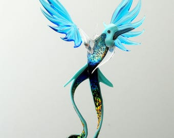 e36-701 Opaque Aqua Double-Tail Hummingbird with Dichroic