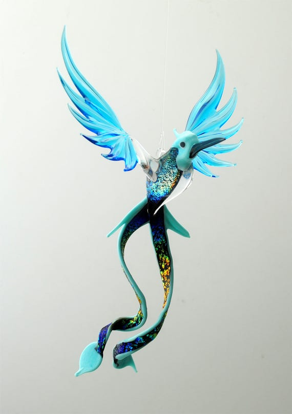 e36-701 Opaque Aqua Double-Tail Hummingbird with Dichroic