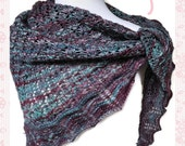 Merino Wool Triangle Shawl in Turquoise Purple Blend Ladies Wrap Malabrigo Rios Yarn